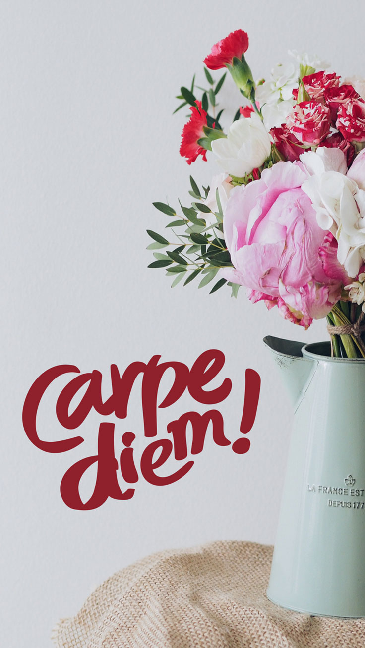Carpe Diem Quote Flowers iPhone Wallpaper / Tap to download for free ...